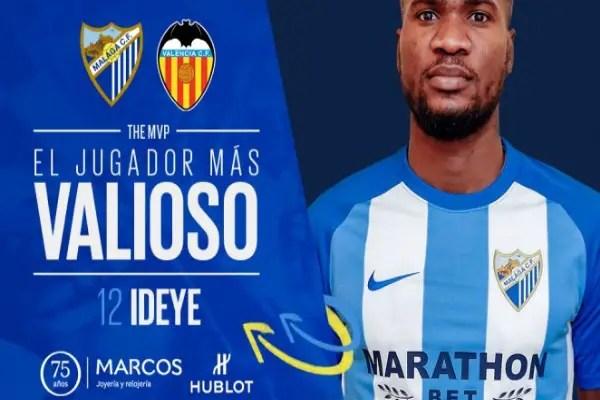 "Ideye Voted Malaga MVP Vs Valencia, ""Upset"" With Defeat"