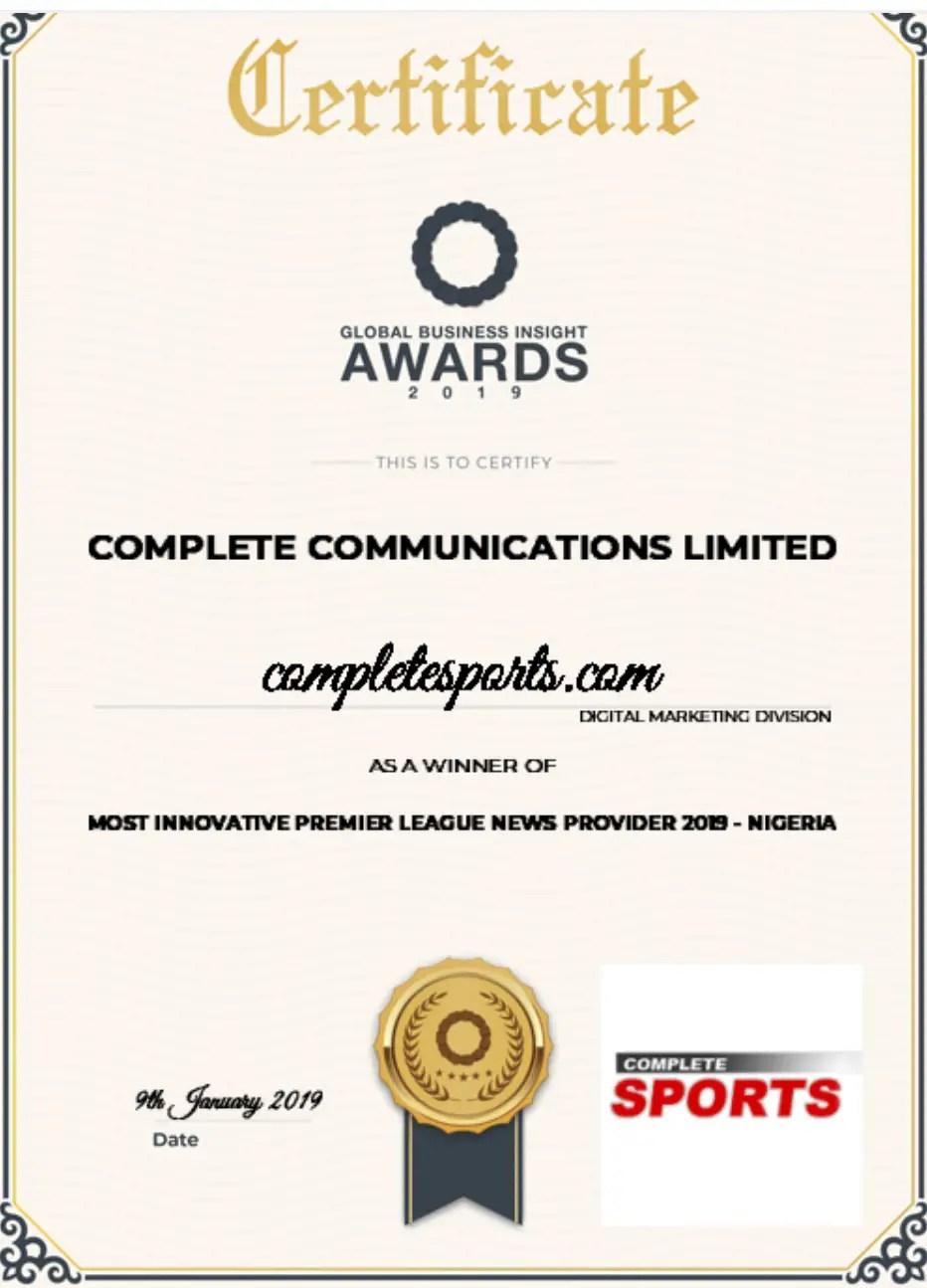 CompleteSports.com Wins Business Insight Award For Most Innovative Premier League News Provider 2018/2019 (Nigeria)