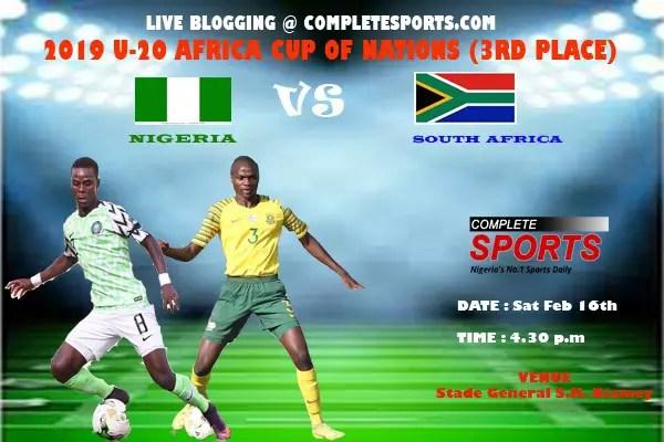 Live Blogging- U-20 AFCON 3rd Place Match; Nigeria Vs South Africa