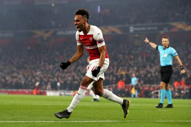 UEL: Iwobi Subbed On As Aubameyang's Double Sends Arsenal Through; Chukwueze's Villarreal Also Qualify For Q-Finals