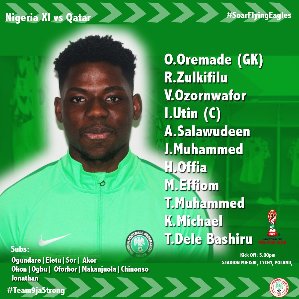 Aigbogun Lists Dele-Bashiru,Offia, Ofoborh In Starting XI Vs Qatar