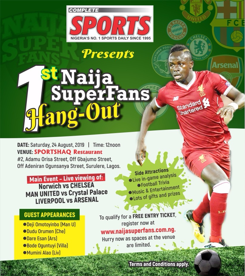 Complete Sports Presents 1st NaijaSuperFans Hangout on 24 August