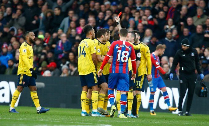 Aubameyang's Red Card Against Crystal Palace Upheld