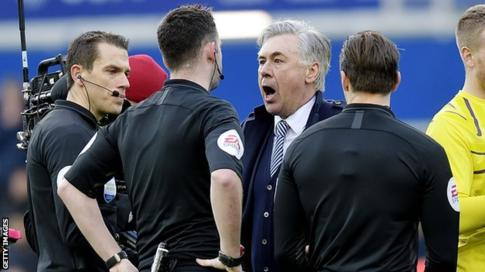 Everton BossAncelotti Fined £8,000 For Improper Conduct