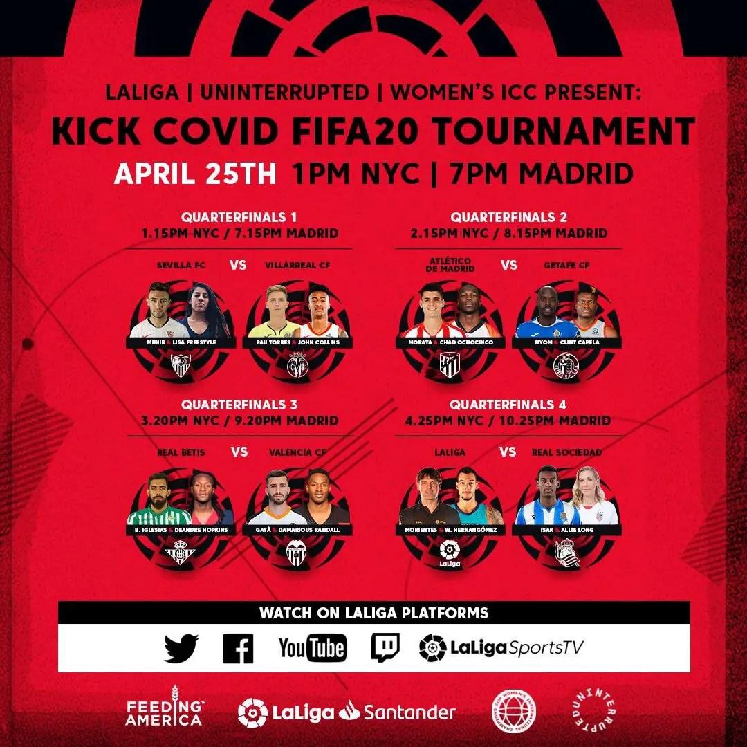 Laliga, NBA, NFL, NWSL Stars  Partner In Kick Covid FIFA20 Tournament