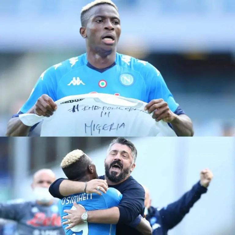 Osimhen Plays Down MOTM Feat After '#EndPoliceBrutality' Goal Celebration