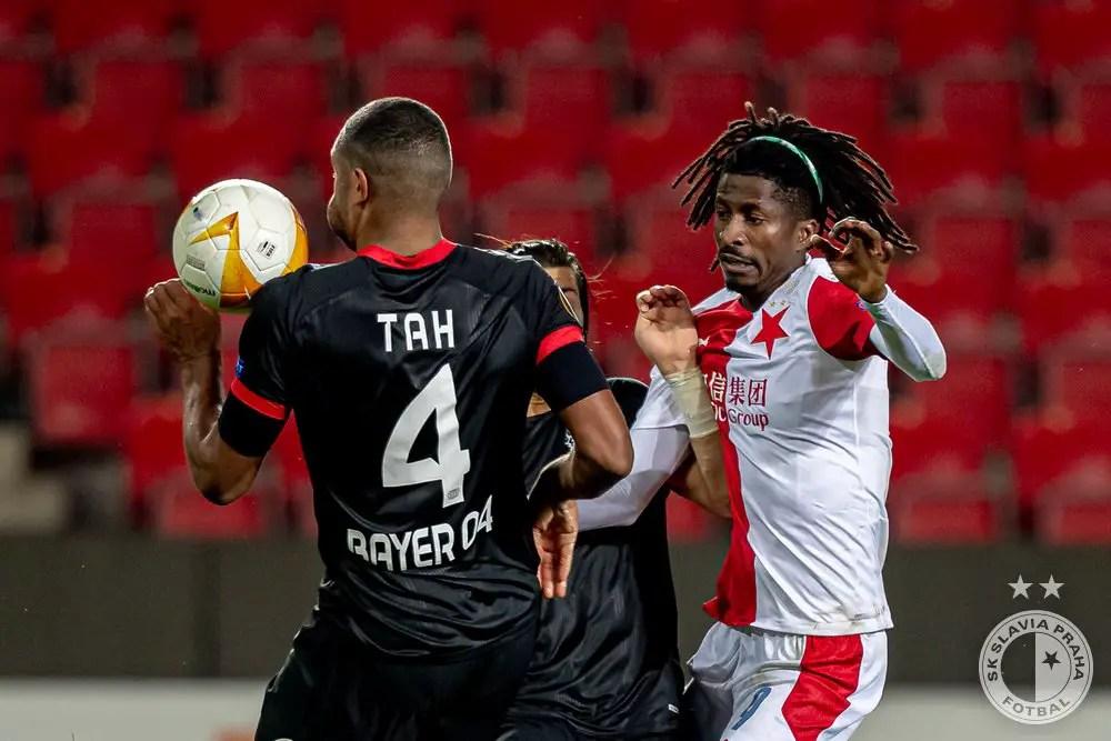 Olayinka Celebrates Slavia Prague's  Winning Goal Against Leverkusen