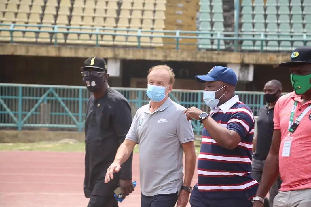 Rohr Inspects Teslim Balogun Stadium Ahead Lesotho Clash