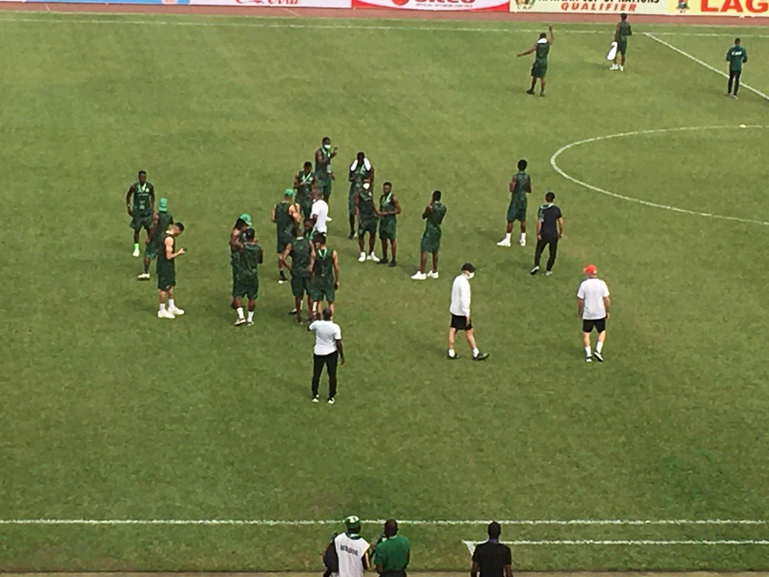 HAPPENING NOW: Super Eagles Players Having A Feel Of The Teslim Balogun Pitch
