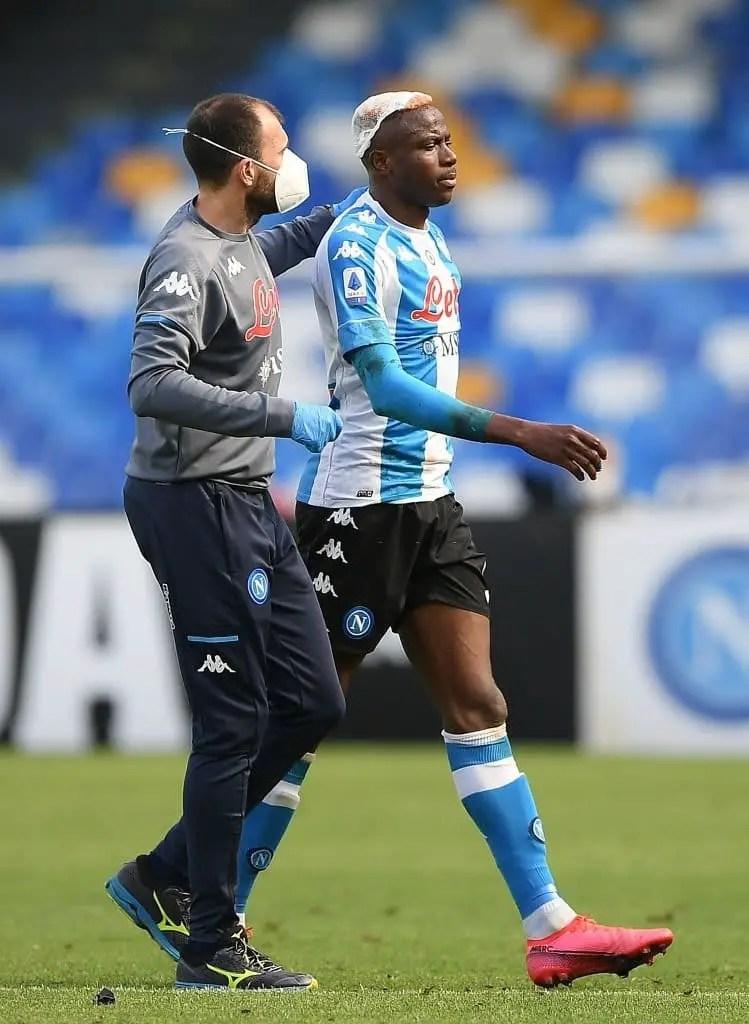 'I'm Fine'- Osimhen Reasures Fans After Nasty Clash Of Heads In Napoli Draw Vs Cagliari