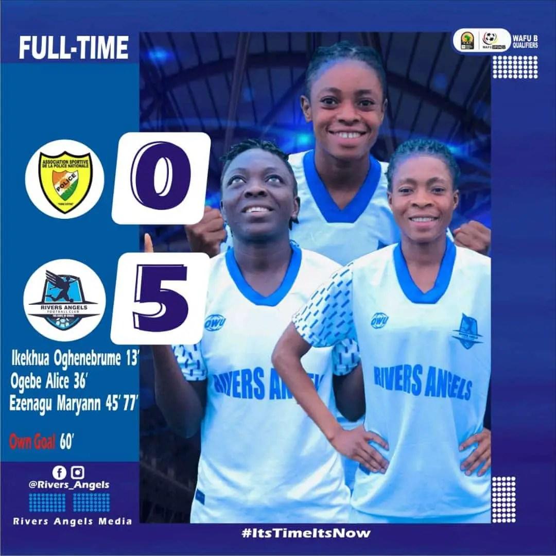CAF Women's C/League Qualifier: Rivers Angels Thrash AS Police, Reach WAFU Zone B Semi-final