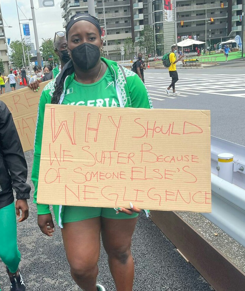 Disqualified Nigerian Track And Field Athletes Protest In Tokyo