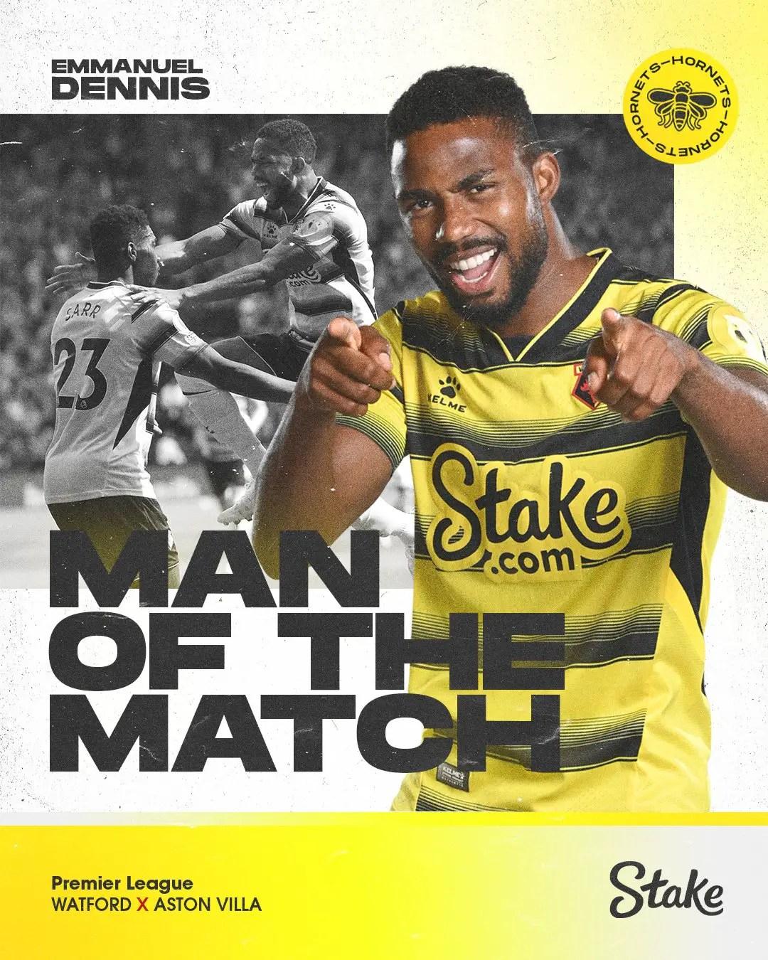 Dennis Beats Etebo To Watford Man Of The Match Award