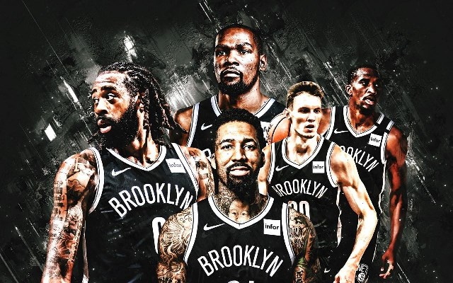 Painted artwork of the Brooklyn Nets basketball team