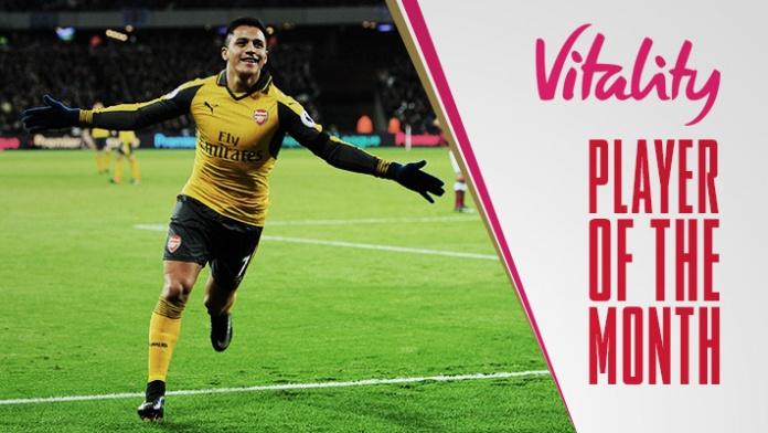 Sanchez Beats Ozil, Iwobi To Arsenal Player Of The Month Award