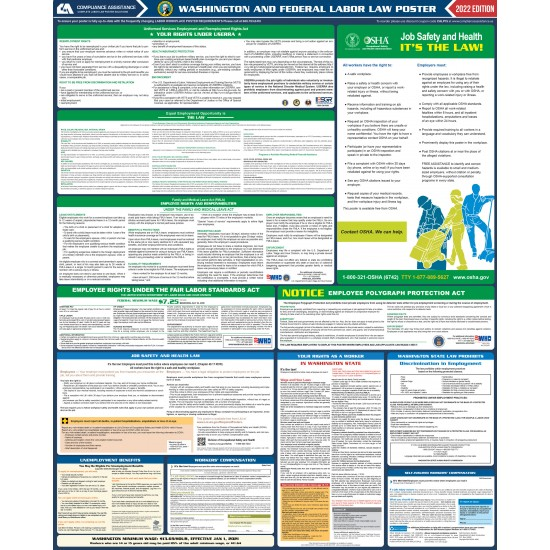 2021 washington state and federal all in one labor law poster