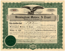 BirminghamMotorsStock.jpeg  Stock certificate for 10 shares of Birmingham Motors automobile company