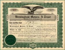 BirminghamMotorsStock.jpeg  Stock certificate for 10 shares of Birmingham Motors automobile company