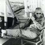 Astronaut John Glenn Relaxing on Deck