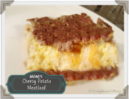 Moms cheesy potato meatloaf slice recipe