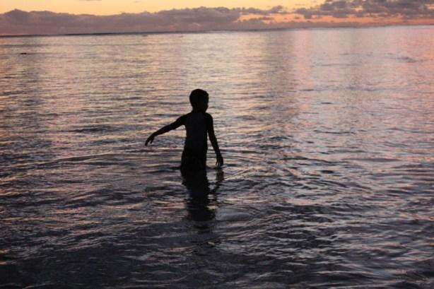 Lanakai Hawaii sunrise beach with kids