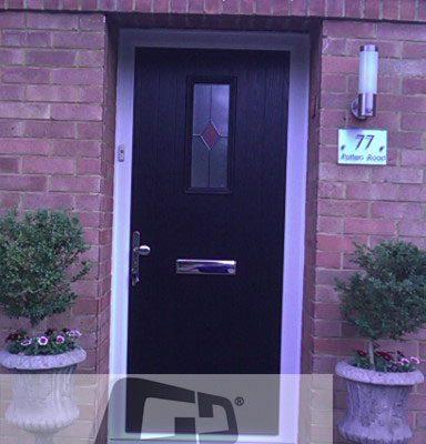 black 1 square Composite Door