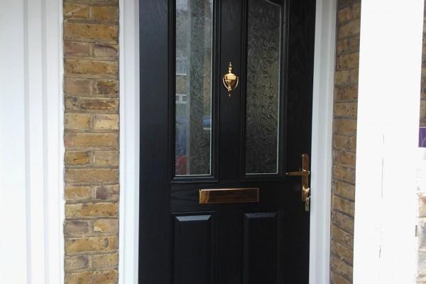 black 2 panel 2 arch Composite Door 4