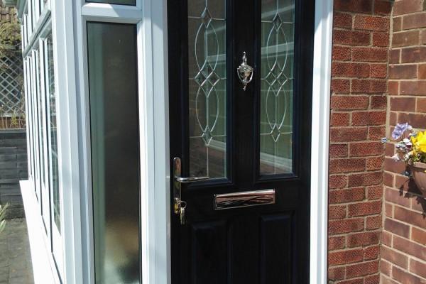 black 2 panel 2 sqaure Composite Door porch