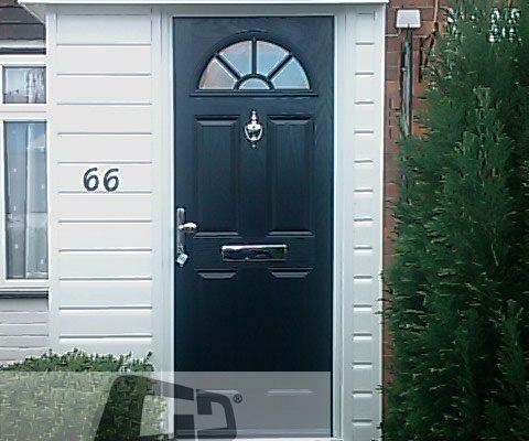 black 4 panel 1 arch Composite Door 1