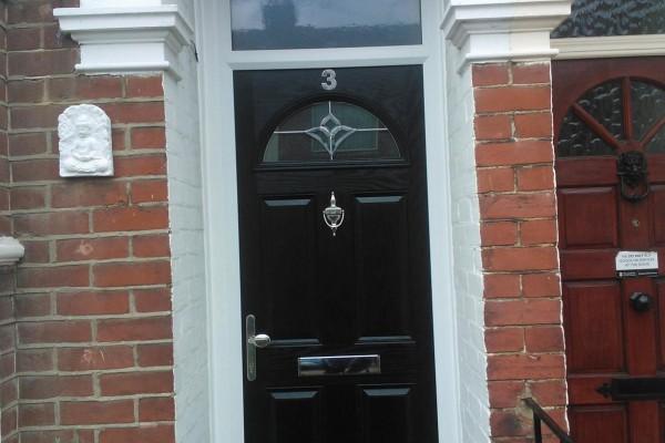black 4 panel 1 arch Composite Door 8