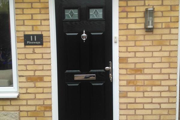 black 4 panel 2 square Composite Door 11
