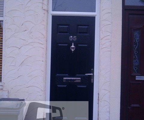 black 6 panel Composite Door