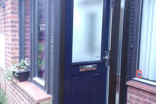 blue 2 panel 1 square Composite Door