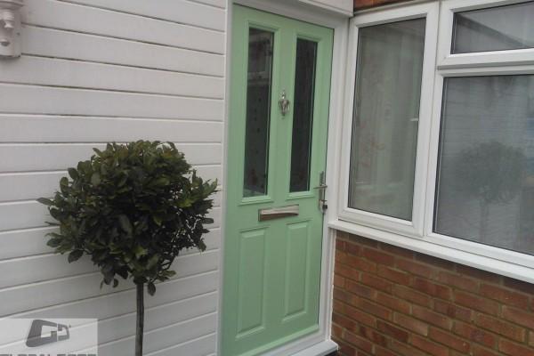 green 2 panel 2 square Composite Door 2