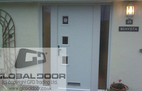 white 3 square Composite Door