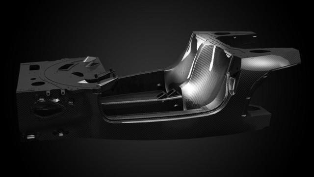 The Ferrari's carbon fibre shell