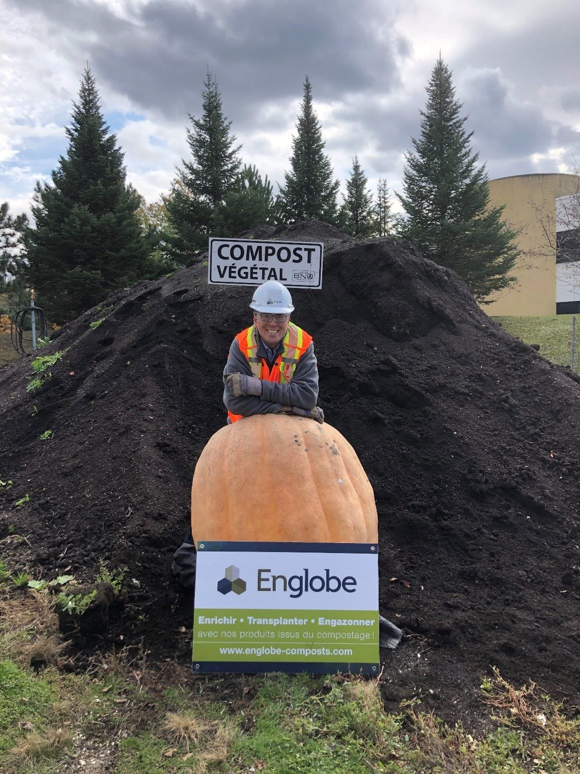 Serge Loubier of Englobe Corp. with their winning pumpkin