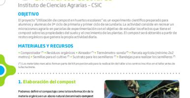 Proyecto CIUDAD CIENCIA: Utilización de compost en huertos escolares