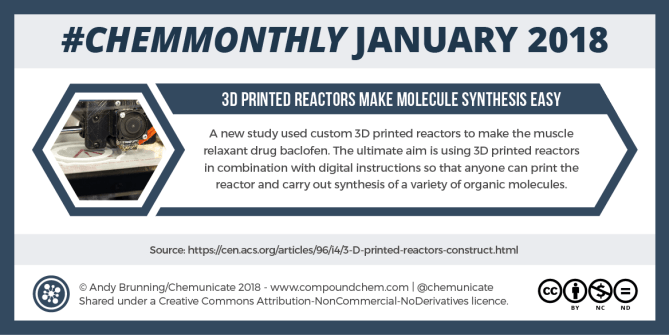ChemMonthly January 2018: Redefining the mole, 3D-printed reactors