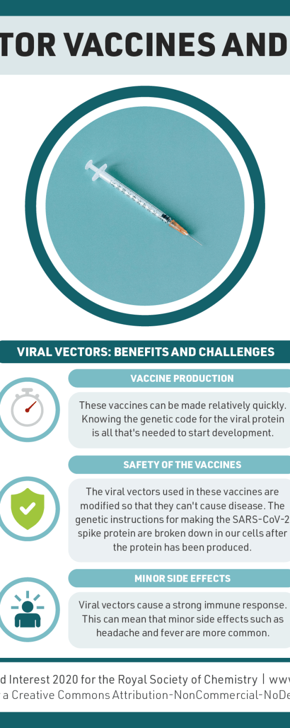 Infographic on viral vector vaccines. The SARS-CoV-2 virus contains a gene which codes for the virus spike protein. In viral vector vaccines, this gene is added to the genetic material of another virus, making it a viral vector. This vector is altered so it can't cause disease. Once the viral vector is inside our cells it produces the virus spike protein, triggering an immune response. These vaccines can be produced relatively quickly. The genetic instructions for making the spike protein are broken down in our cells after use. Viral vector vaccines cause a strong immune response which can mean minor side effects are more common. Different viruses can be used as viral vectors; the AstraZeneca vaccine uses a chimp adenovirus, while some others use a human adenovirus. Some people may have immunity to human adenoviruses, potentially reducing vaccine effectiveness.