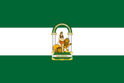 Bandera de Andalucía y escudo Hércules