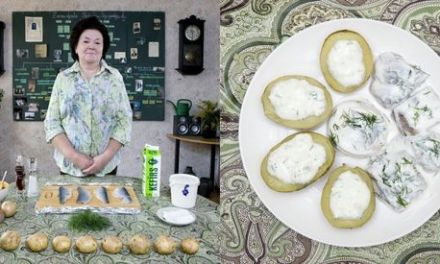 Arenque con patatas, queso 'cottage' y Kéfir