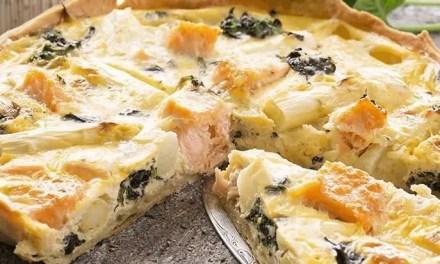 Quiche de Kéfir, espinacas, queso y espárragos