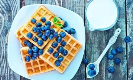 Waffles Gluten Free de Blueberries y Kéfir
