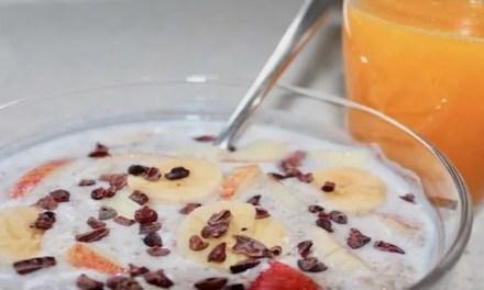 Kéfir con melocotón y cereales integrales