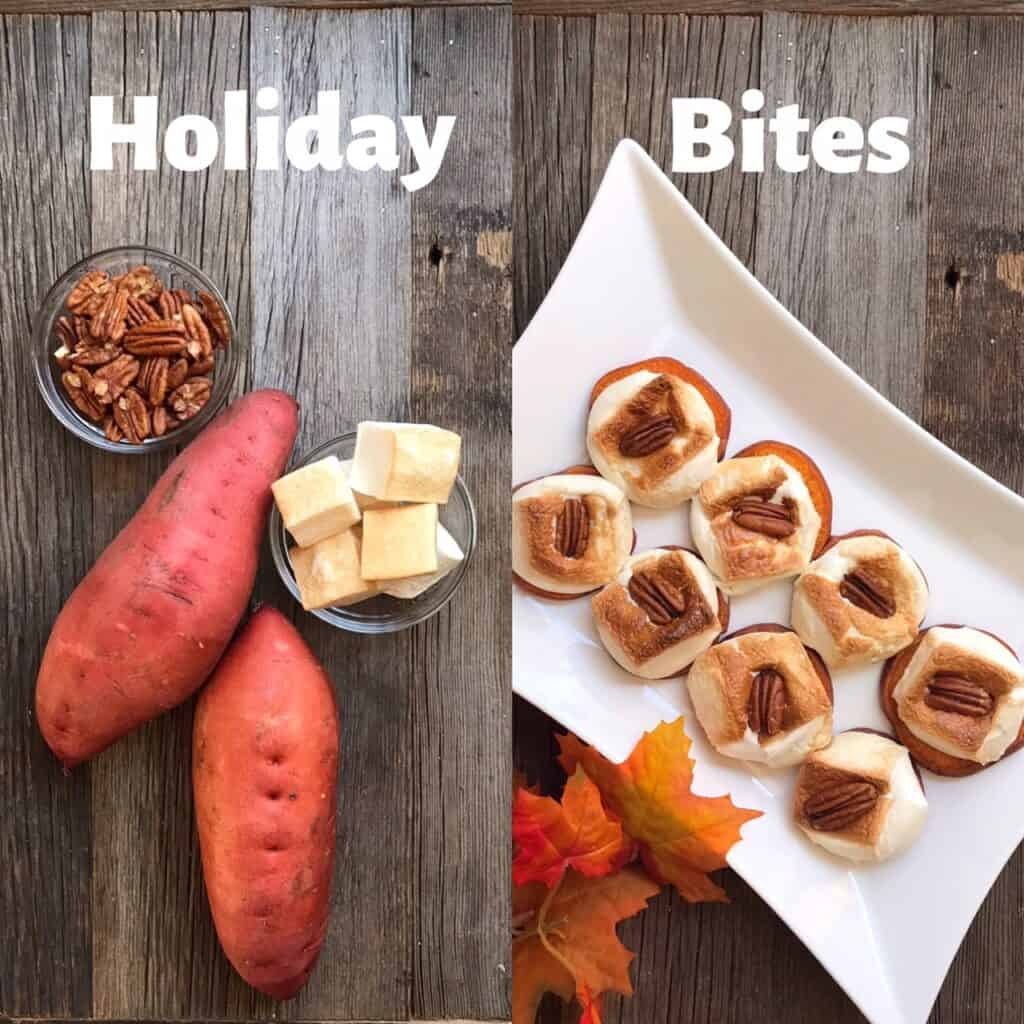 """Side by side comparison photo of Sweet Potato """"Casserole"""" Bites ingredients and finished product"""