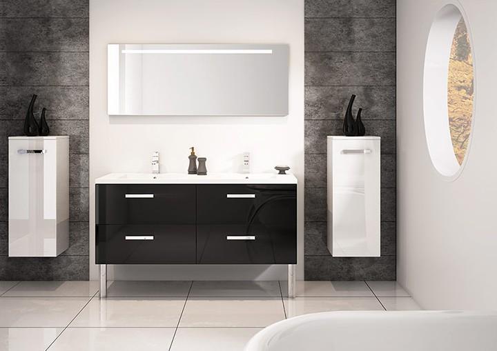 Meuble Double Vasques 140cm Gloss Noir Srie Loft Discac