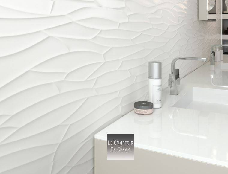 faiences murales blanc 3d diamant