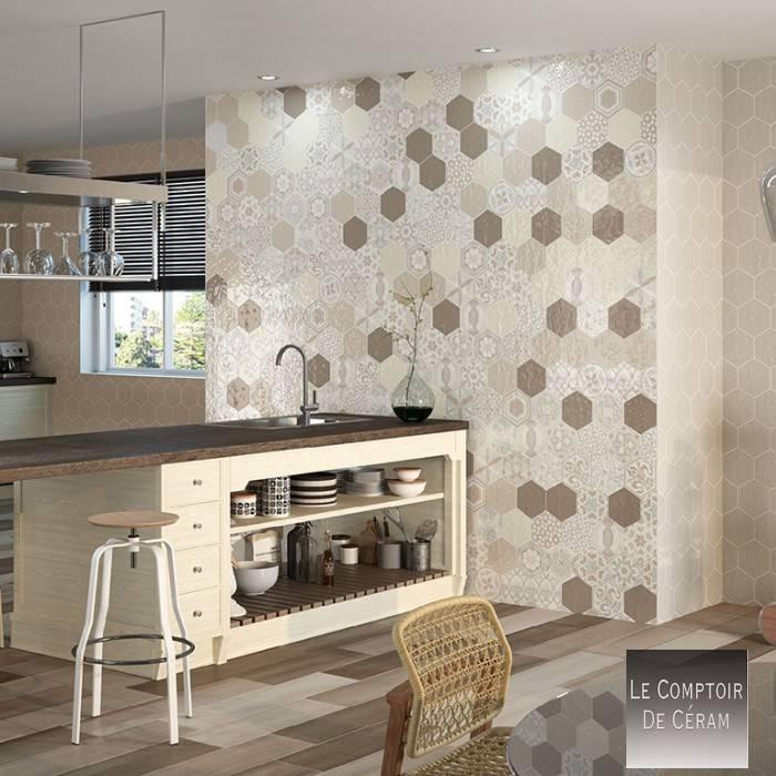 carrelage hexagonal mur couleur