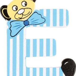 Lettre E en bois bleu motif petit ourson 6cm